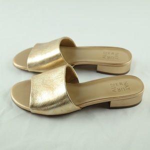 Naturalizer Mason Slide Sandals 8.5 Wide Gold NEW